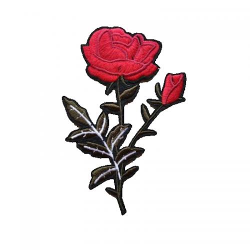 tygmärke en röd ros