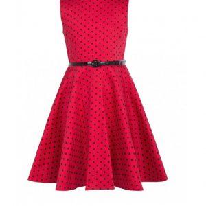 barnklänning röd svarta prickar