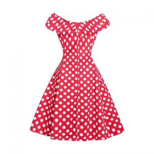 Klänning röd med vita prickar