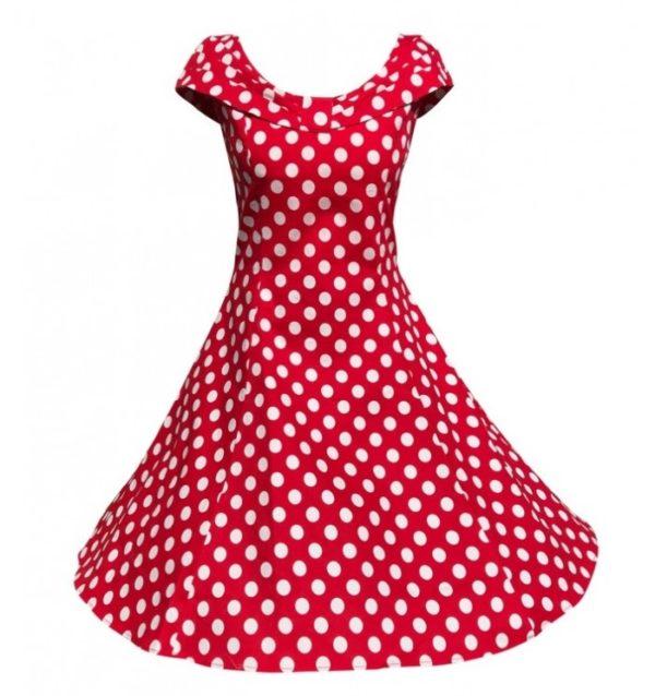 röd vita prickar veronika klänning