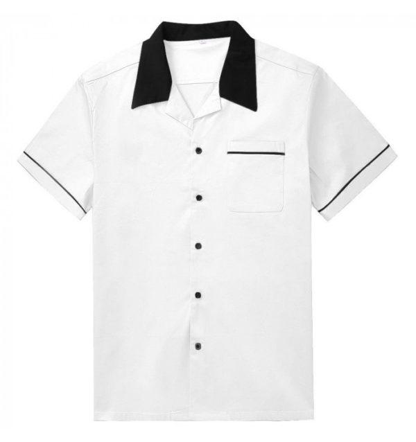 Herrskjorta vit svart krage fram