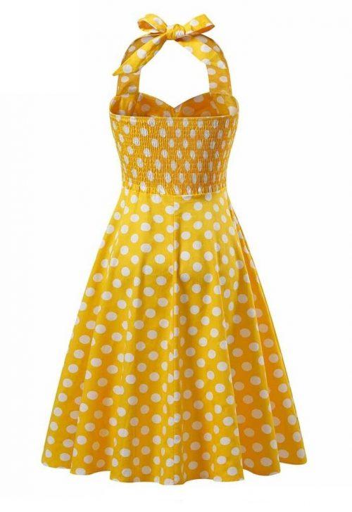 halter klänning gul bak