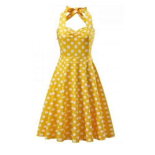 Solgul klänning halterneck