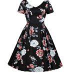 Svart blommig klänning paula svart rosa grå fram