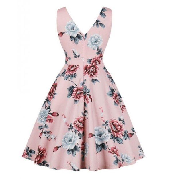klänning rosa grå rosa blom bak