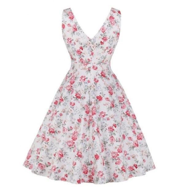 sally vit beige rosa blom klänning