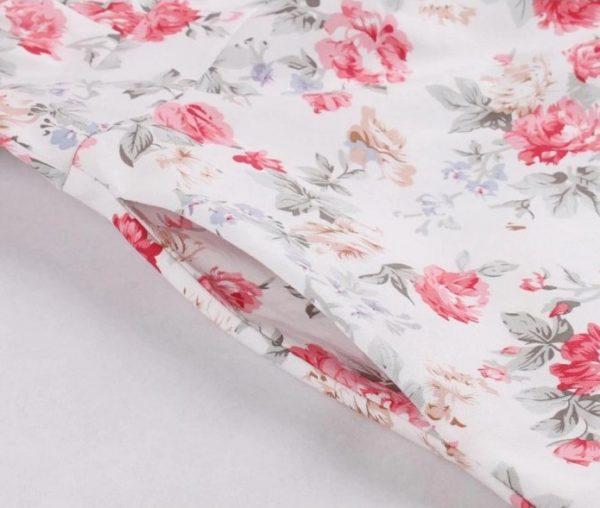 klännning vit beige rosa blom
