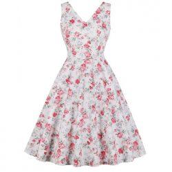 klänning sally vit beige rosa blom