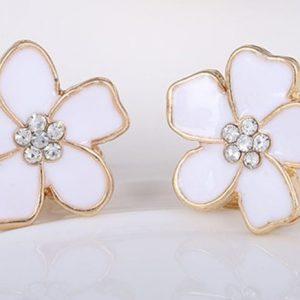 vit metall blomma clipsörhänge