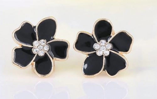 metall örhänge svart blom