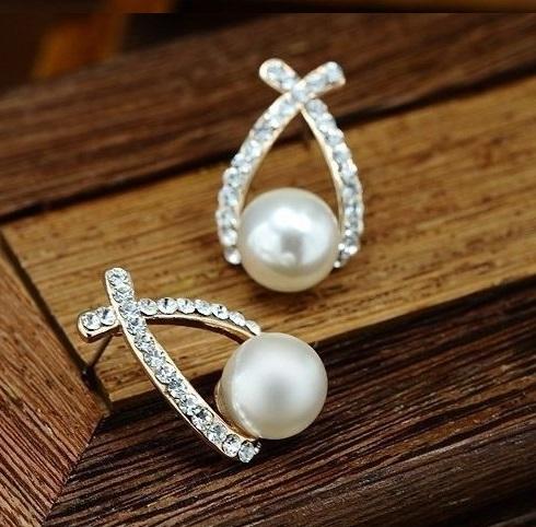 örhängen vit pärla strass