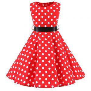 röd barnklänning audrey vit prick