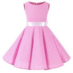 rosa barnklänning audrey vita prick
