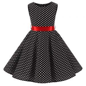audrey barnklänning svart vit prick