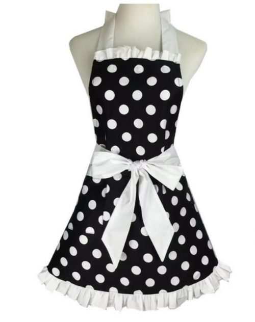 förkläde svart vit dot vit volang