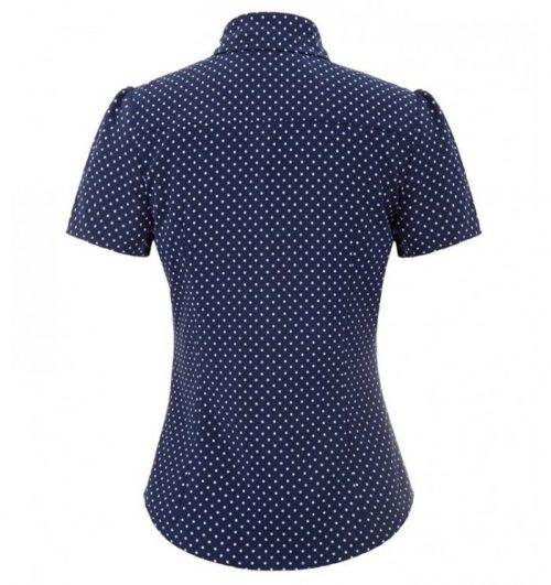marinblå blus med vita prickar bak