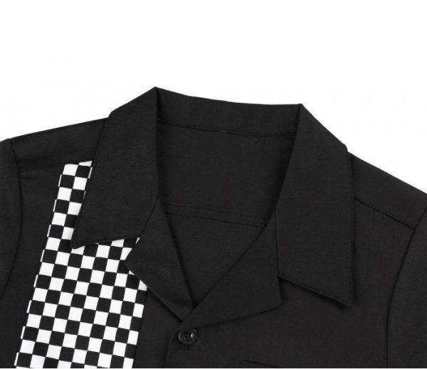 svart vit rutig skjorta krage