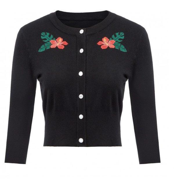 Cardigan svart blom
