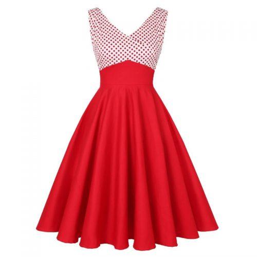 Röd swingklänning
