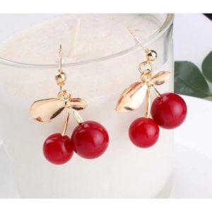 Vinröda örhängen körsbär