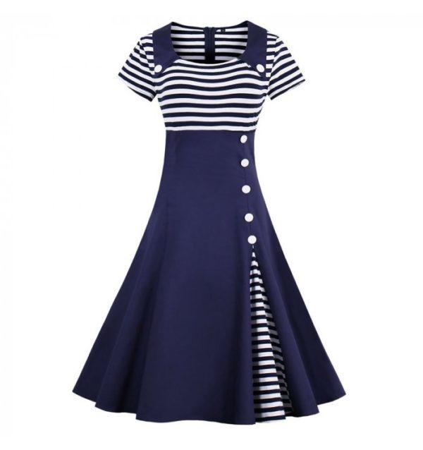 vit marinblå klänning