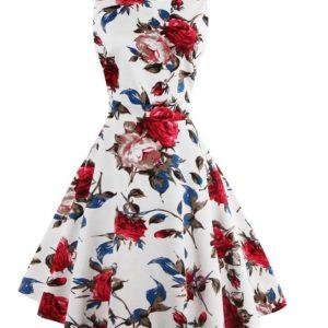 vit röd rosor klänning