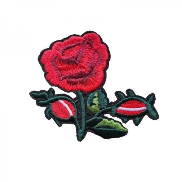 Tygmärke röd ros med knopp