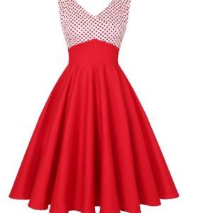 Röd klänning vit röda prickar