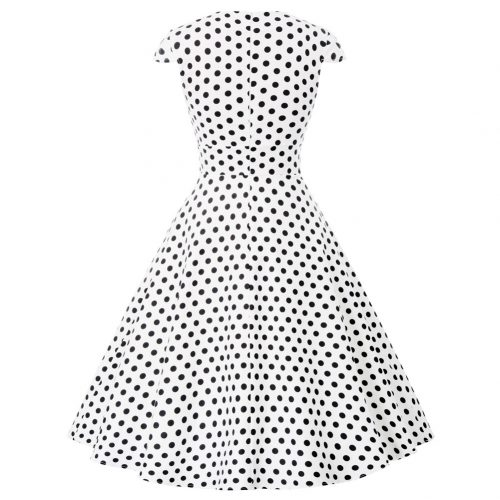vit svart prick swingklänning bak