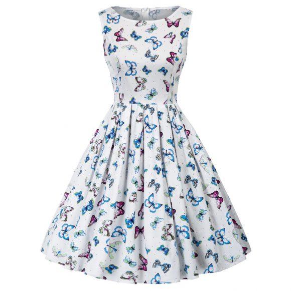 klänning vit fjäril fram