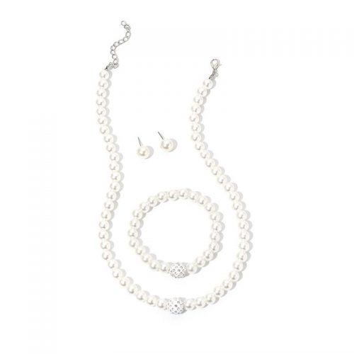 Pärlhalsband inklusive örhängen