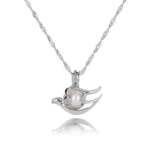 Elegant silverhalsband med vacker duva