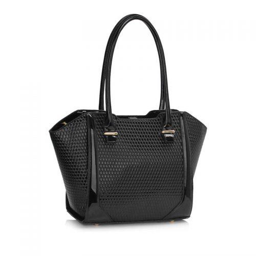stor svart lackväska