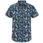 marinblå bomullsskjorta med palm mönster