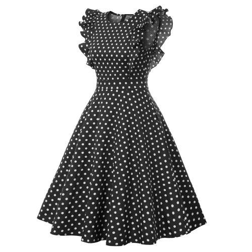 retro klänning viola svart med vita prickar