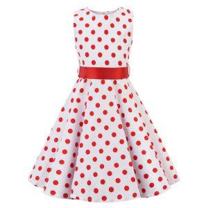 Barnklänning vit med röda prickar