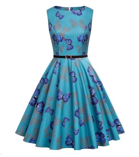Blå fjäril klänning