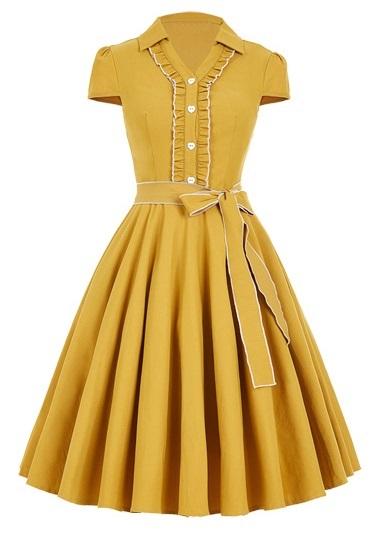 senapsgul singoalla klänning