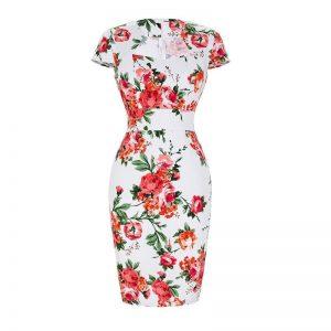 Vit blommig pennklänning
