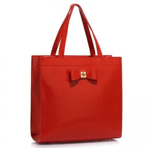 stor röd handväska