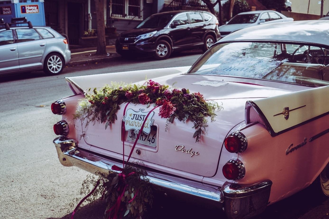 Rockabillybröllop bilen