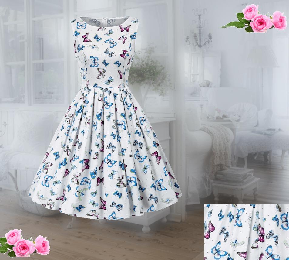 50 tals klänning med fjärilsmotiv