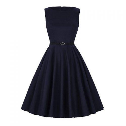 mörkblå klänning retro stil