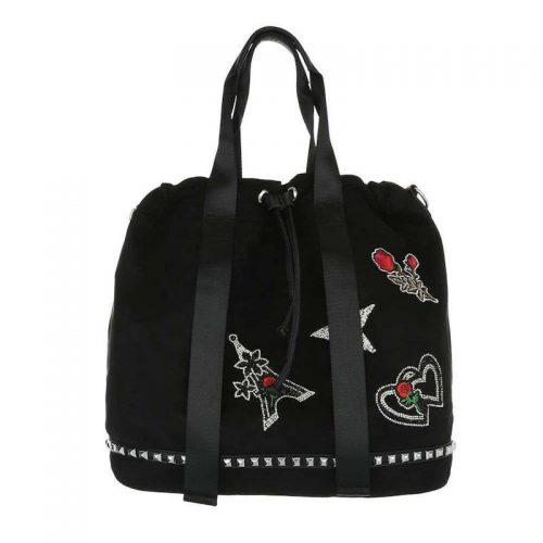 Shoppingväska i svart sammet rockbilly