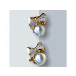 Örhängen clips vit pärla vit rosett 50 tal