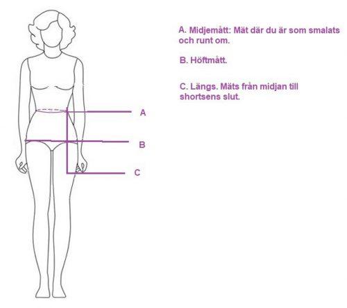 måttabell dam shorts