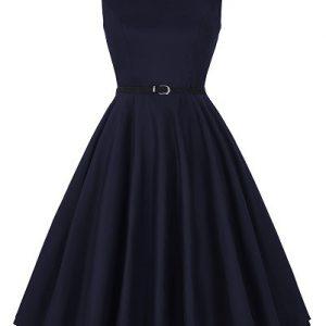 mörkblå helklockad klänning