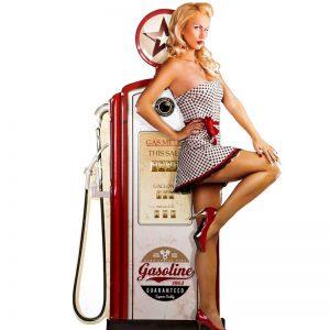 reto plåtskylt pin up bensin pump