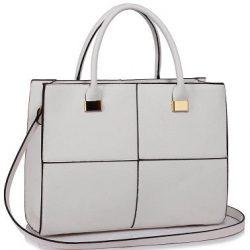 vit stor handväska med rutmönster