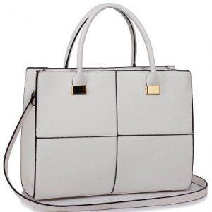 stor vit handväska med rutmönster